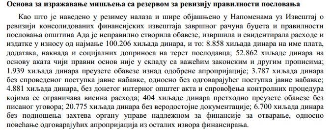 Iz Izveštaja o reviziji konsolidovanih finansijskih izveštaja završnog računa budžeta i pravilnosti poslovanja opštine Ada za 2015. godinu
