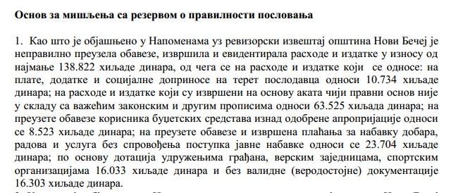 Iz Izveštaja o reviziji konsolidovanih finansijskih izveštaja završnog računa budžeta i pravilnosti poslovanja opštine Novi Bečej za 2015. godinu