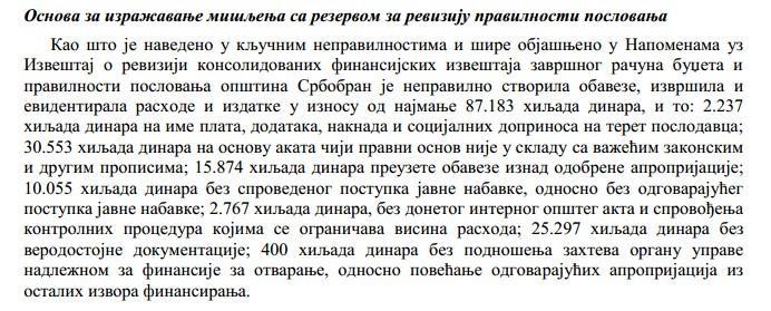 Iz Izveštaja o reviziji konsolidovanih finansijskih izveštaja završnog računa budžeta i pravilnosti poslovanja opštine Srbobran za 2015. godinu