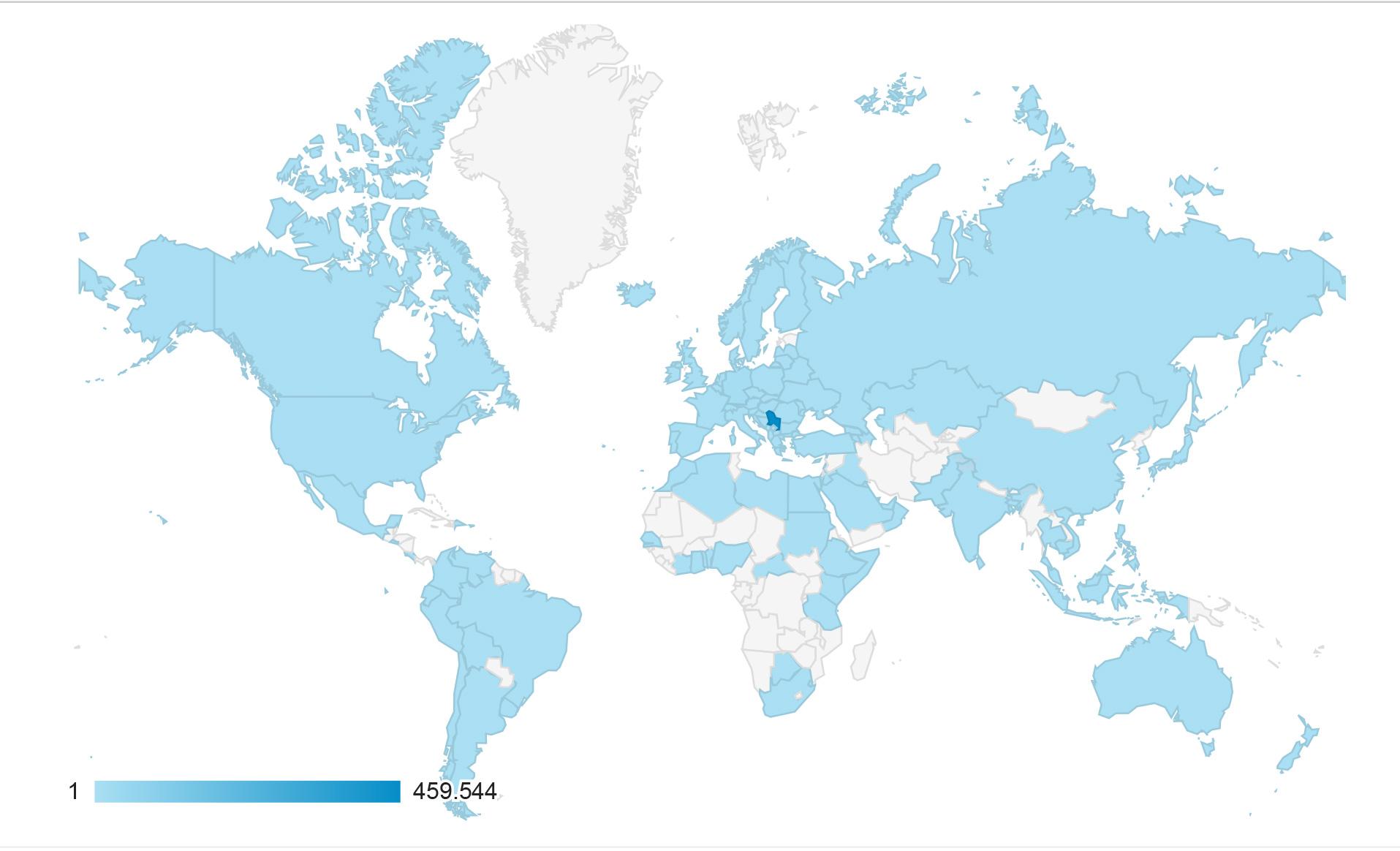 Zemlje iz kojih je posećen portal MojBečej u 2016. godini | Izvor: Google Analytics za portal MojBečej