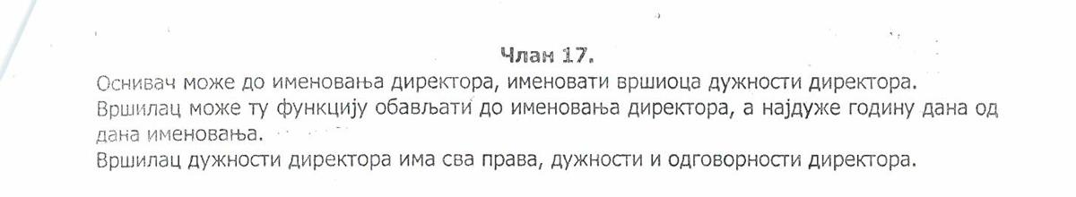 Član 17 Statuta Turističke organizacije u prvom stavu navodi da V.D. može obavljati tu funkciju najduže godinu dana