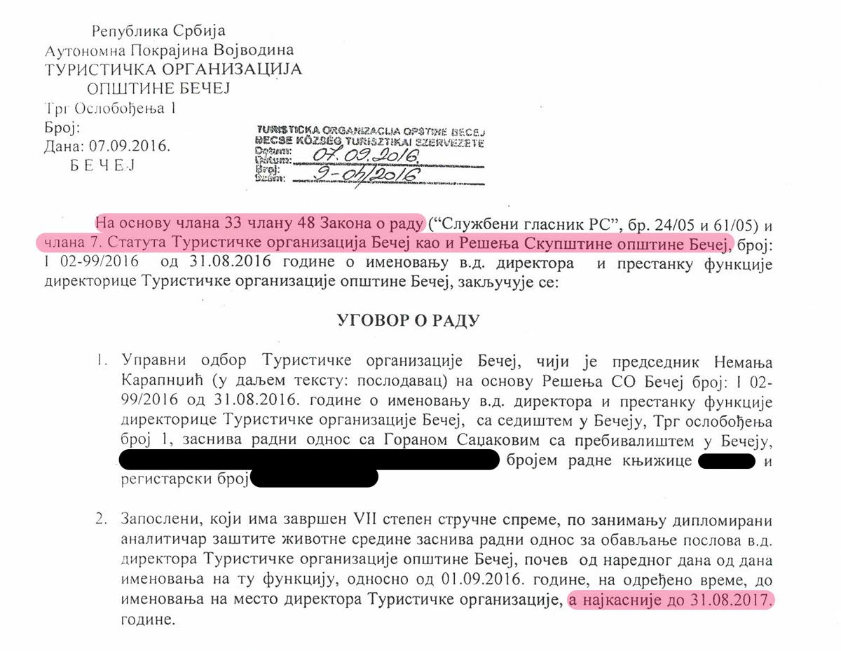Ugovor o radu - Goran Sadžakov