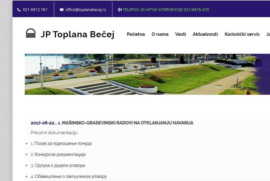 Kej u Novom Bečeju na sajtu bečejskog preduzeća