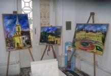 Polovina izloženih radova Tibora Šipoša u holu Gradske kuće   Foto: Vlastimir Jankov