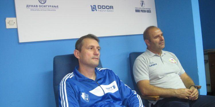 Treneri Branko Savić i Goran Dragoljić na pres konferenciji posle utakmice | Foto: Vlastimir Jankov