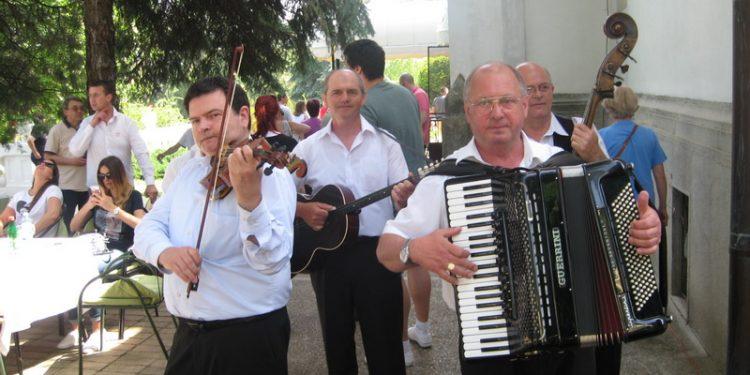 Miša Silaški sa harmonikom u društvu bečejskih svirača | Foto: Vlastimir Jankov