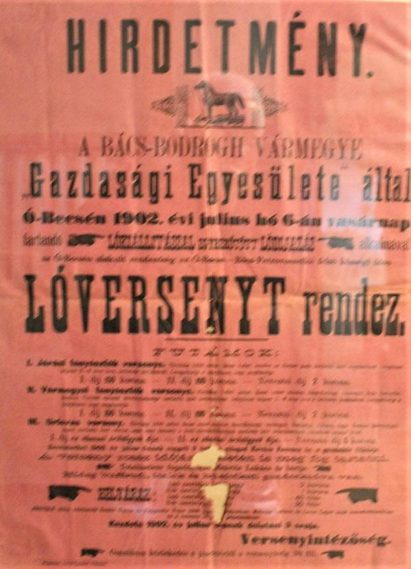 Plakat povodom konjičkih trka iz 1902. godine