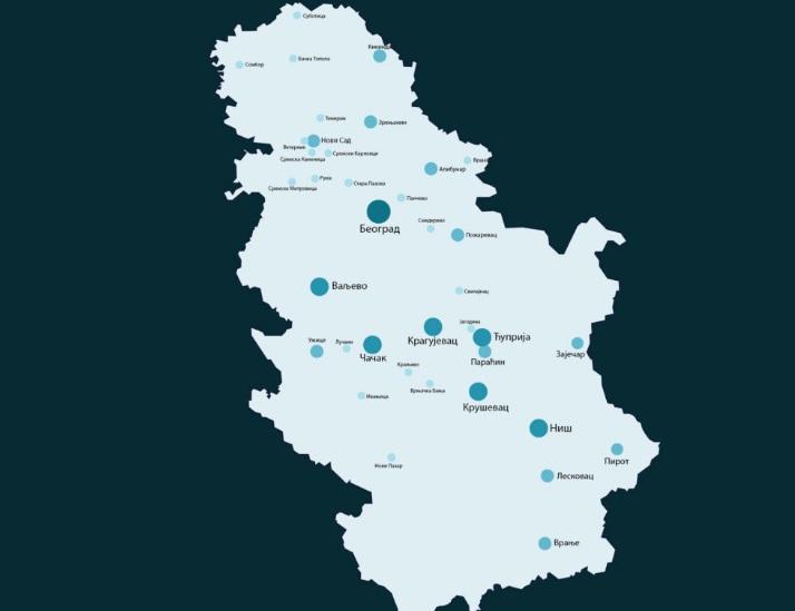 Karta sa gradovima i opštinama gde ima zaraženih, 3. april 2020. godine
